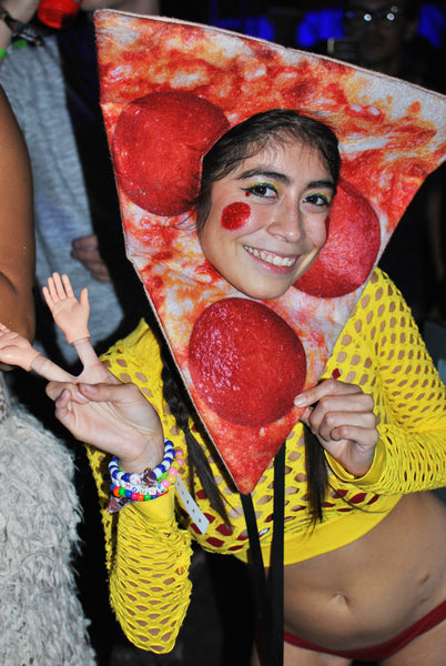 rave girl wearing pizza costume