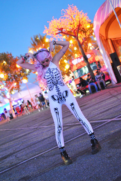 rave girl wearing full skeleton costume