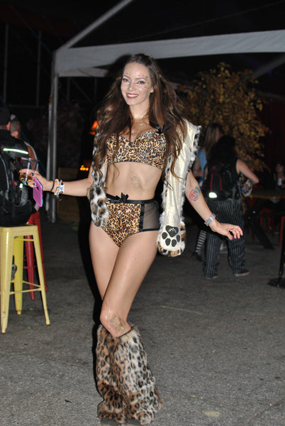 rave girl in cheetah costume