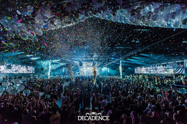 ravers celebrate new years eve at Decadence festival