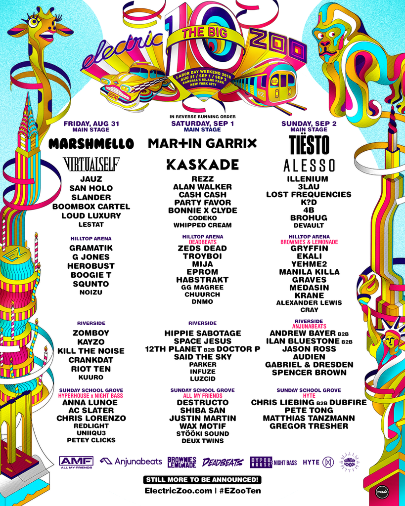 Electric Zoo Lineup 2018