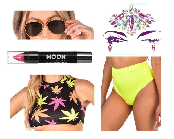 neon weed leaf theme rave outfit and accessories for music festivals