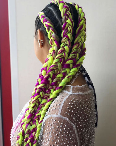 Purple and neon green Braid Extensions