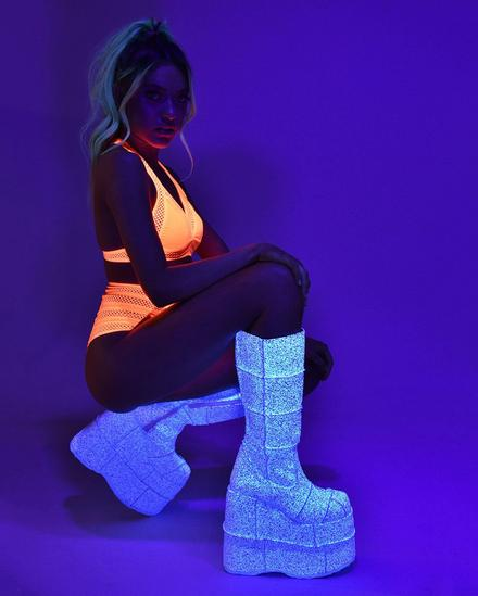 Sparkly Thigh High Boots that Glow under UV Light