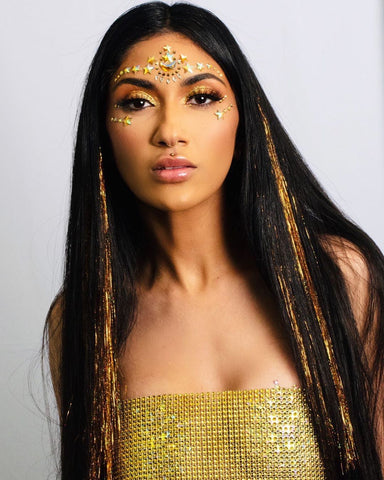 Gold Shimmer Halter Top and Gold Face Jewels