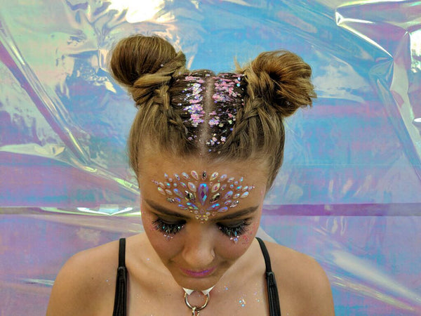 Pink and Blue Glitter Roots and Jewels with Space Buns