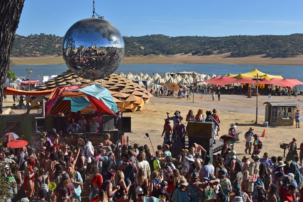 Disco Ball Overlooking the dance floor at LIghtning in a Bottle Festival