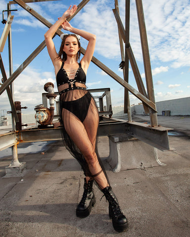 Full length mesh dress with platform boots and halter top