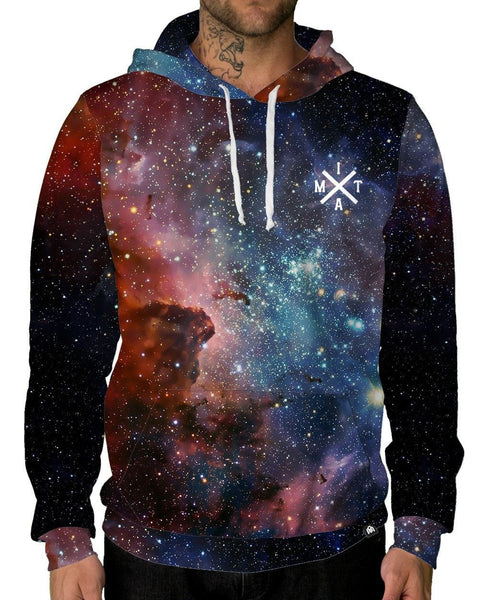 Blue and Red Galaxy Print Hoodie