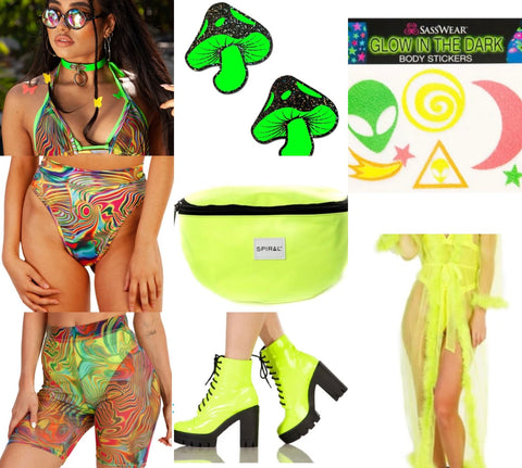 Multi Color Trippy Print Matching Set with Mushroom Pasties and Neon Green Combat Boots