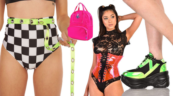 Neon and Checkers Rave Outfits