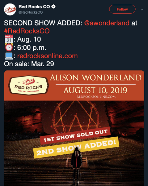 Red Rocks Colorado Second Alison Wonderland Show Added