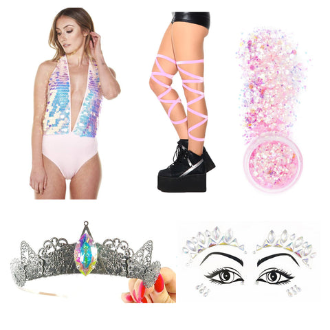 Crystal Princess Pink Rave Outfit with Pink with crown, pink sequin bodysuits, festival jewels and pink leg wraps