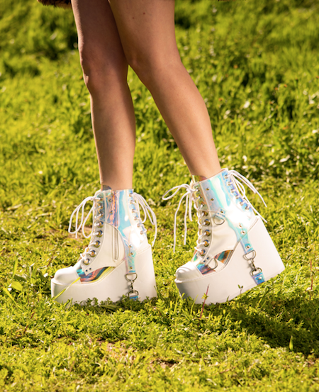 holographic iridescent strappy buckle platform boots
