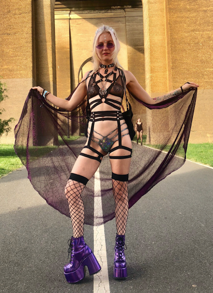 Demonia Chunky Holographic Purple Platform Boots