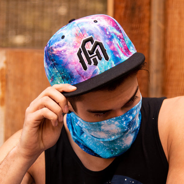 rave guy wearing colorful snapback rave hat