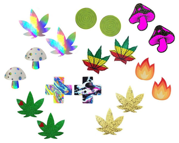 collection of 420 stoner weed leaf ganja marijuana theme rave pasties