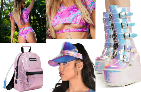 Trippy Print Neon Pink Set with Holographic Boots and Sparkly Pink Backpack