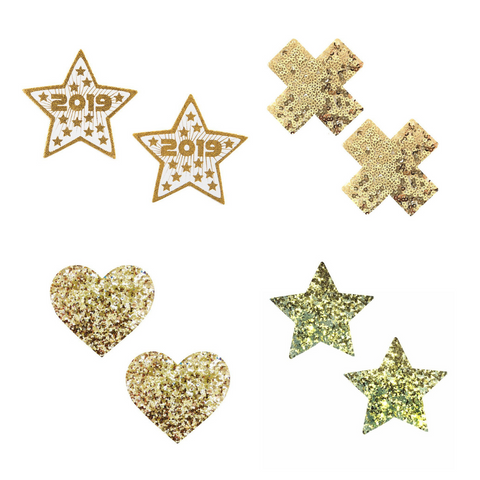 Gold pasties with 2019 star pasties, gold sequin cross pastie, gold glitter heart pastie, and gold glitter star pastie