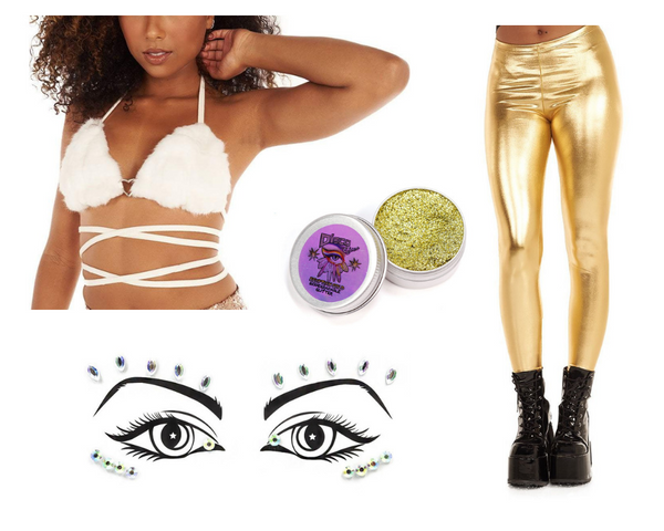 Pop the Bubbly Baby outfit, featuring white fur wrap top, gold metallic leggings, gold biodegradable glitter, and Lunautics face gems