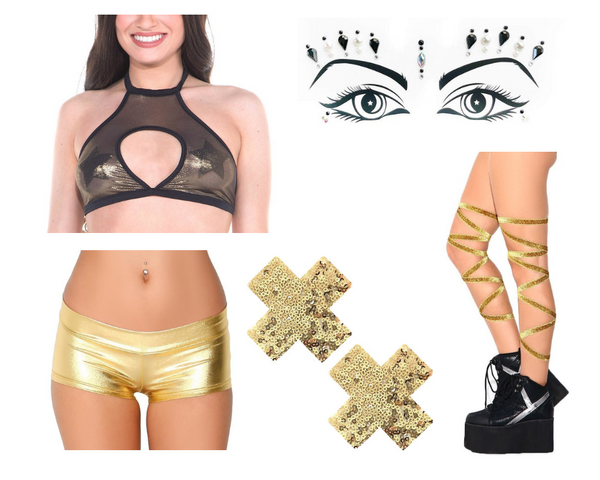 Firecracker Kween Outfit with gold and black mesh keyhole top, metallic gold booty shorts, gold sequin cross pasties, gold glitter leg wraps, and Lunautics face gems