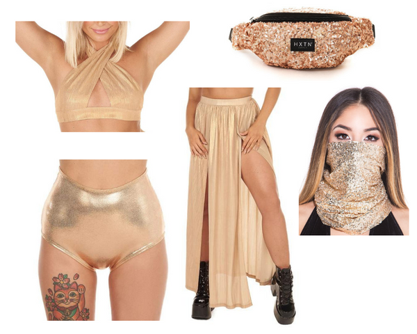 Champagne Pop Princess Outfit with gold halter top, gold maxi skirt, rose gold high waisted metallic shorts, gold sequin fanny pack, and gold sequin seamless mask