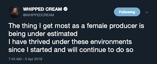 Whipped Cream Twitter - thriving as a female producer