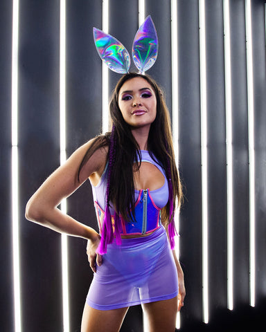 Purple Bunny Rabbit Holographic Rave Outfit