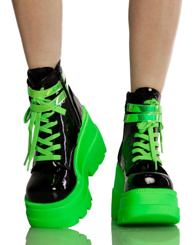 Black and Neon Green Platform Shoes