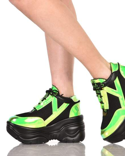 Womens Rave Sneakers YRU Holographic Neon Green Platform Shoes