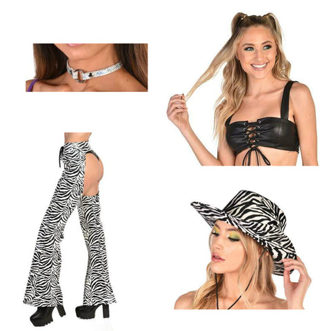 Zebra Print Chaps Outfit
