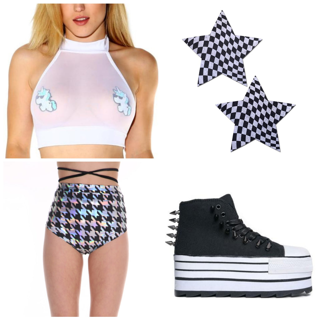 Beyond wonderland themed outfit - checker board