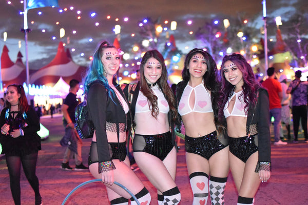 rave girls in matching festival outfits