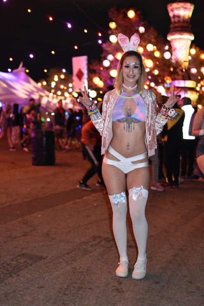rave girl wearing metallic bunny costume