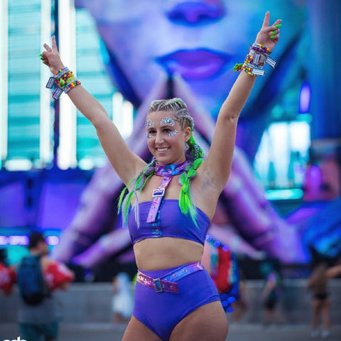 Girl Wearing Purple Harness to EDC