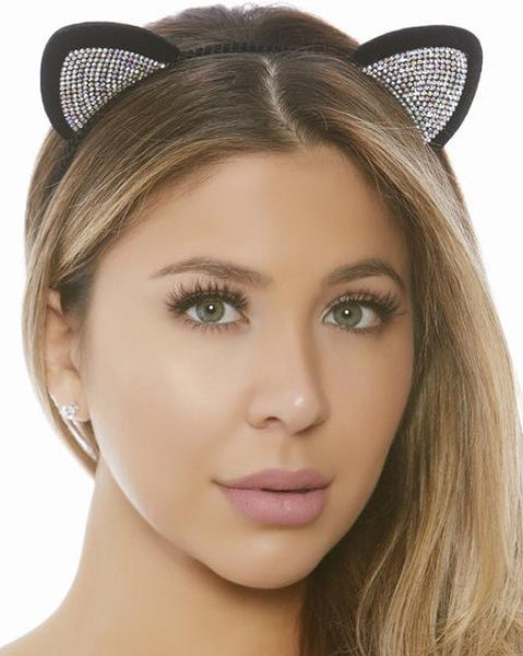 Black and Silver Glitzy Cat Ears