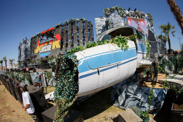 The Wreckage Stage at Paradiso Festival with airplane crash