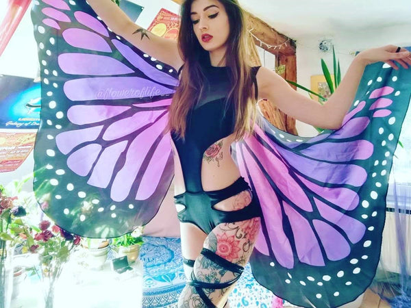 iHeartRaves Music Festival Butterfly Wings Outfit with Black Cutout Rave Bodysuit & Leg Wraps