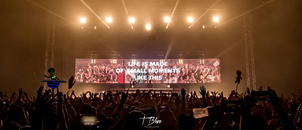 Above and Beyond, Life is Made Up of Small Moments Like these Text at EDM Show