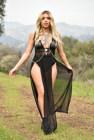 Black Sheer Maxi Dress with Silver Body chain
