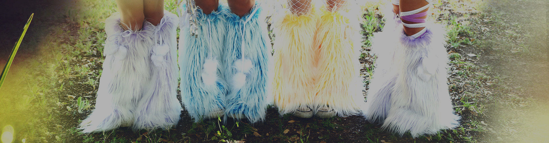 raver fluffies and leg warmers
