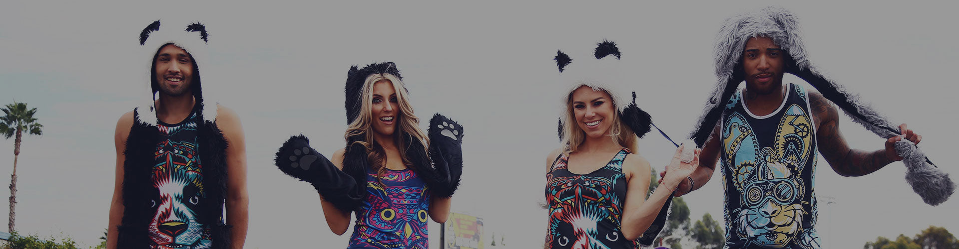 faux fur animal hats for raves