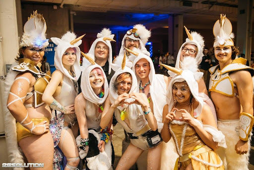 Ravers dressed in white and gold for USC Events Resolution on New Years Eve