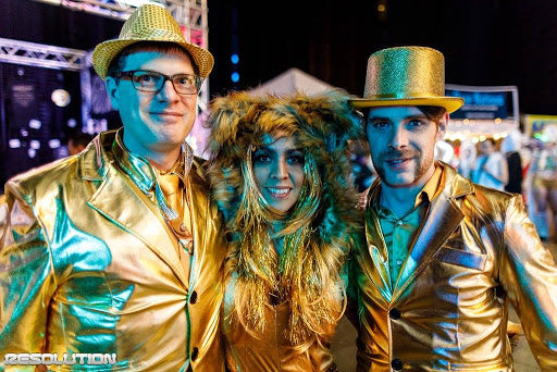 Raver friends dressed in metallic gold at USC Events Resolution on New Years Eve