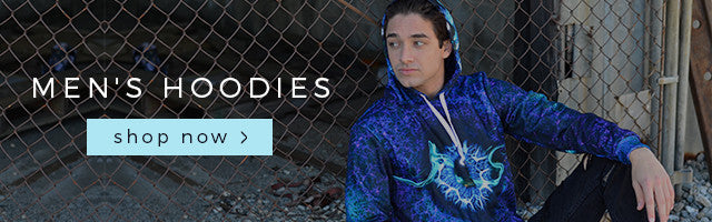 galaxy print INTO THE AM rave hoodies for guys