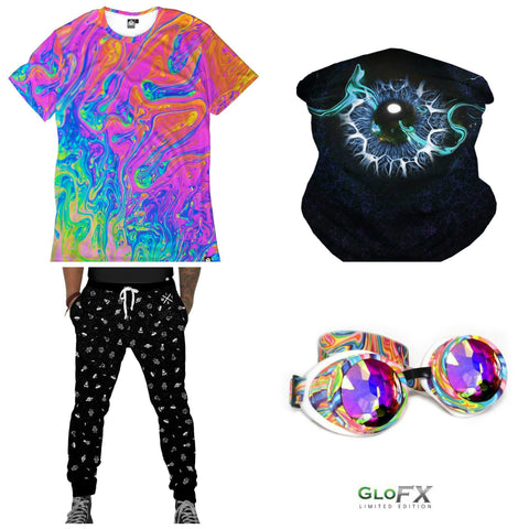 Trippy Rainbow Tee with Galaxy Joggers