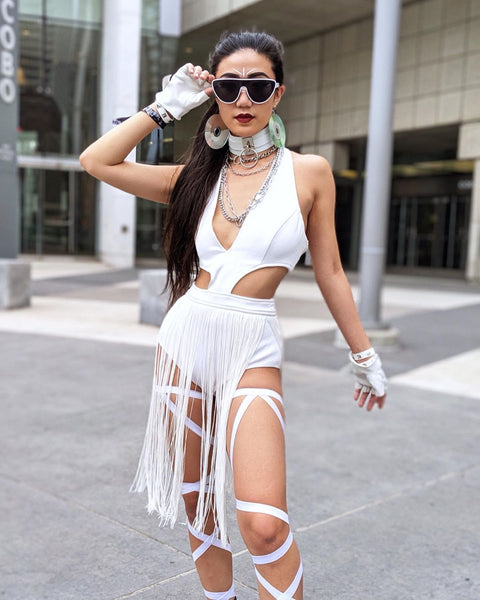 White Leg Garter Harness