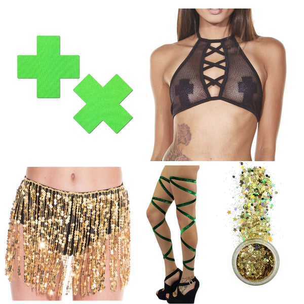gold st. patricks day festival rave outfit inspiration