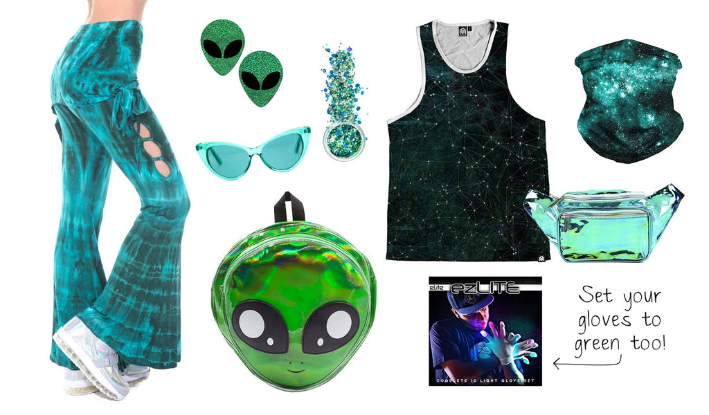 Green Monochrome Outfit Ideas for Nocturnal Wonderland
