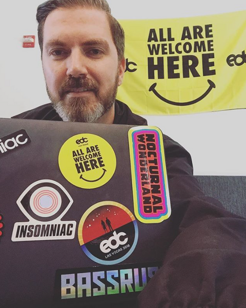 Pasquale Rotella showing off his stickers
